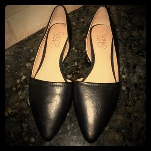 Franco Sarto black leather d'orsay flats